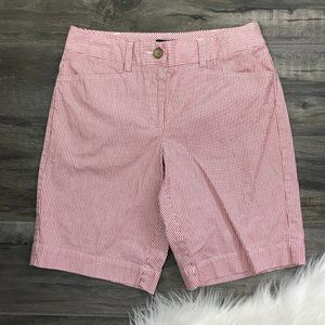 Lands' End Fit 2 Womens Shorts 4 Red White Stripe